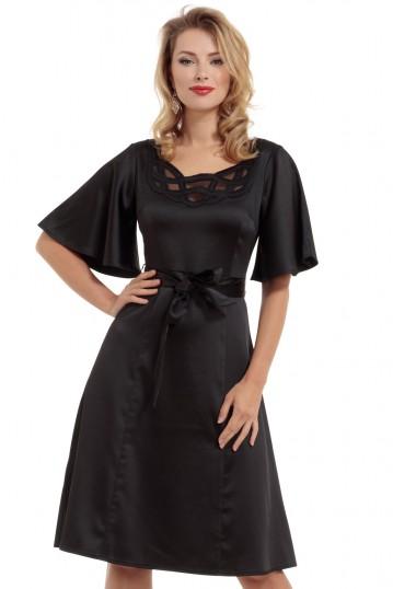 Ellie Bell Sleeve Satin Midi Dress