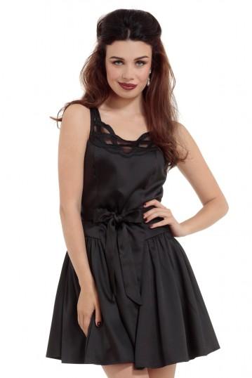 Sophia Sheer Collar Black Satin Dress