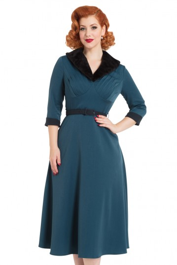 Meredyth Fur Collar Flare Dress