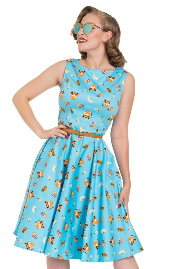 Honey Flared Cat Print Dress