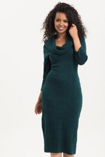 Olivia Green Knit Fitted Dress