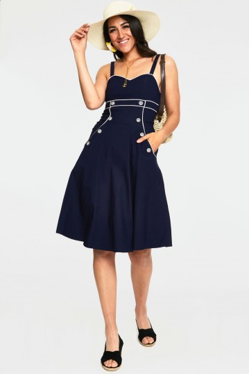 Claudia Nautical Flared Dress