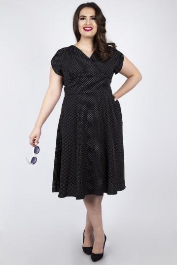 Curve Tabby Black Polka Dot Tea Dress
