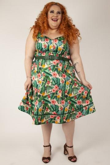 Curve Jinkx Floral Tropical Print Dress