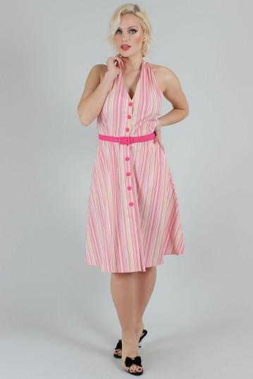 Midge Multicolour Striped Halter Neck Dress