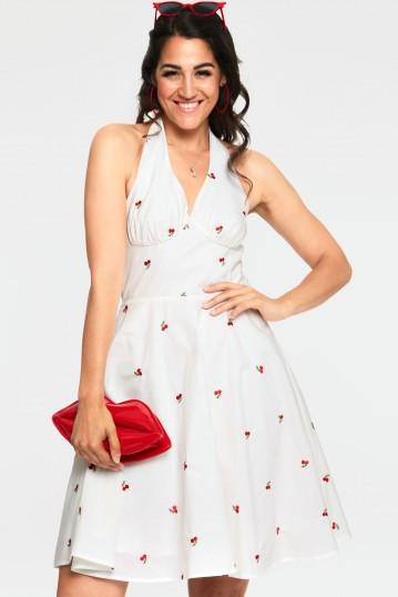 Winnie Cherry Print White Halter Neck Dress