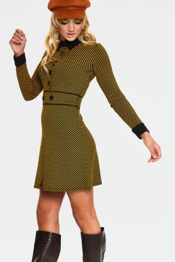 Makayla Mustard Polka Dot Mod Dress
