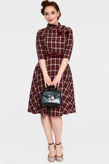 Rommana Button and Bow Detail Plaid Tartan Flared Dress
