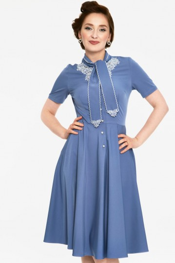 Bluebelle Blue Floral Dress With White Floral Embroidery