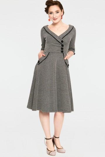 Marica Herringbone Flared Dress