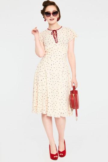 Candace Heart Print Flared Dress