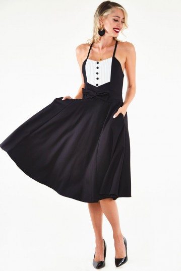 Hessy Knit Flare dress with contrast pleated panel and bow detail