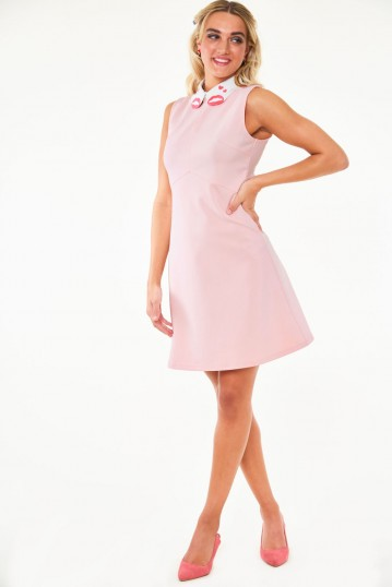 Perry Lips and hearts emb collar knit dress