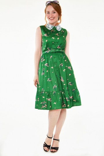 Pinny Pine Green Floral Dress with Lace Collar