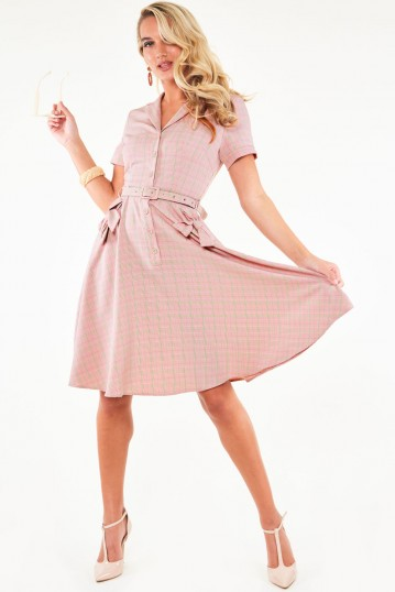 Curve Kenzy Plaid bow pocket button up flare dress
