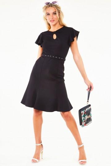 Nessy Black Flutter Sleeve Belted Bodycon Dress