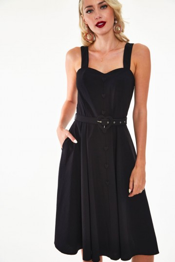 Frenchie Flare halter dress with heart belt and buttons