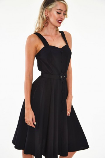 Curve Frenchie Flare halter dress with heart belt and buttons
