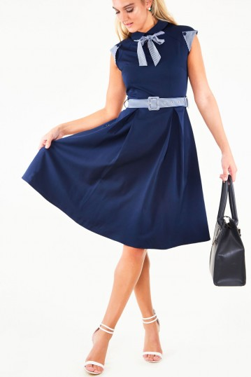 Bonny Blue Flare dress with contrast stripe tie, belt and sleeve detail