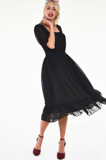 Yara floral embroidered witch tea dress