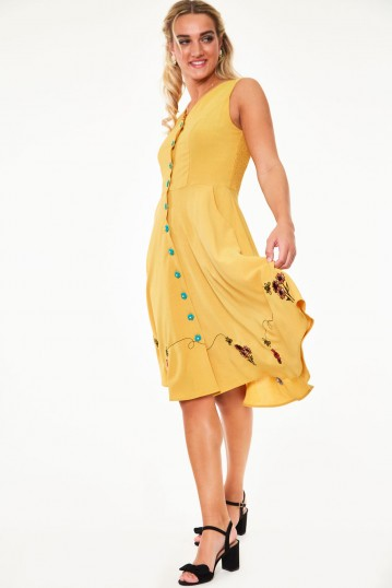 Mallory Honey Bee embroidered button-up sleeve dress
