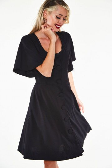 Felicity Fuller sleeve velvet flare dress with floral embroidered button