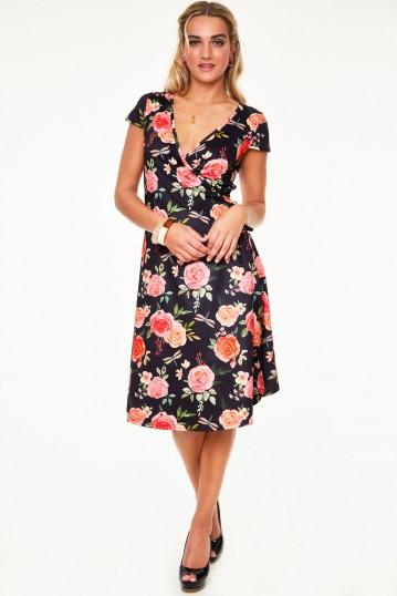 Rosabeth Gypsy tea rose flutter collar wrap dress