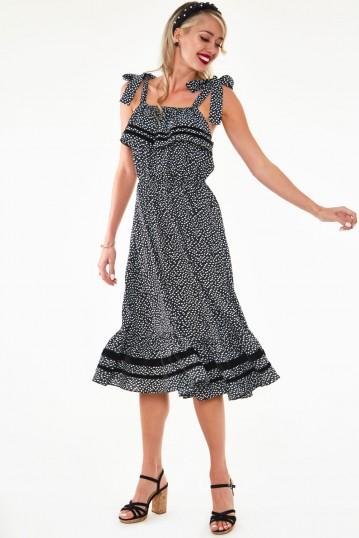 Mae long floral flare dress with velvet trim