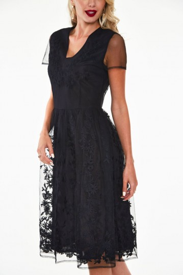 Glenda black on black floral embroidered dress