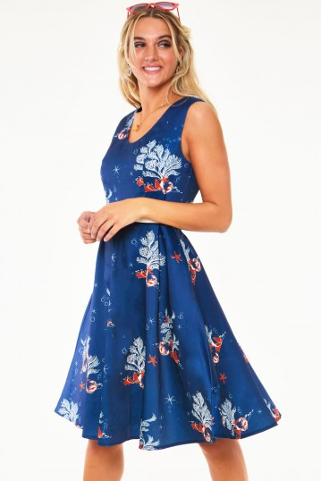 Colbie dress in coral print