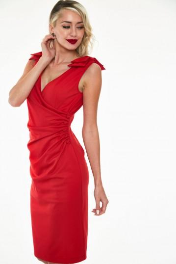 Sheree Bow shoulder heart button dress