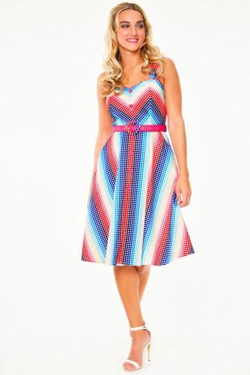 Serene Rainbow gingham flare dress with pleated bustline