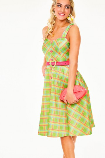Vita Rainbow green tartan summer dress