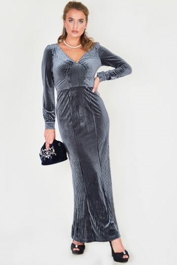 Edith Velvet Jewel Grey Gown