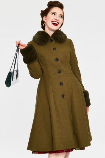 Erin Olive Faux Fur Trim Coat