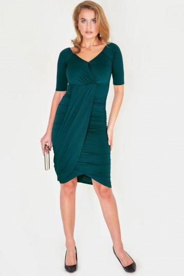 Georgina Green Wrap Bodycon Dress