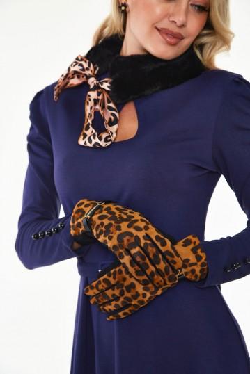 Gina Leopard Buckle Gloves