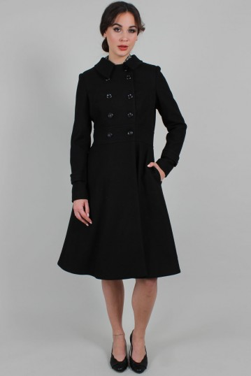 Curve Grace Double Breasted Black Pleat Coat
