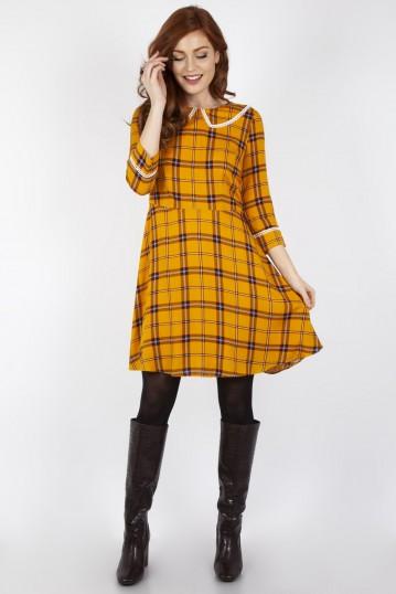 Harley Shadow Collar Tartan Yellow Dress