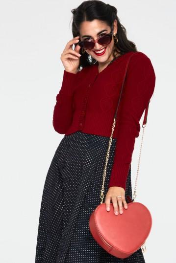 Jazmine 1940s Burgundy Heart Knit Cardigan