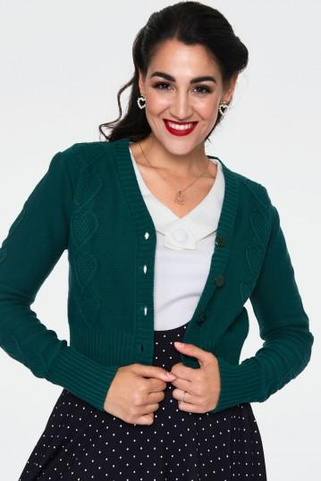 Jazmine 1940s Green Heart Knit Cardigan