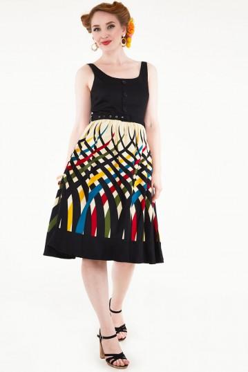 Jean Border Print Flared Dress