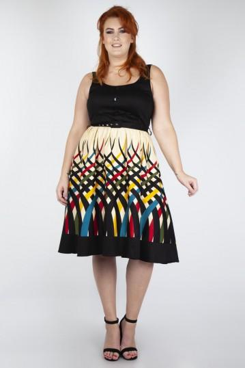 Curve Jean Border Print Flared Dress