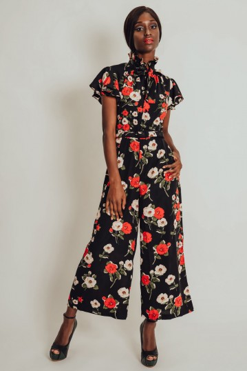 Bianca Floral Black Jumpsuit