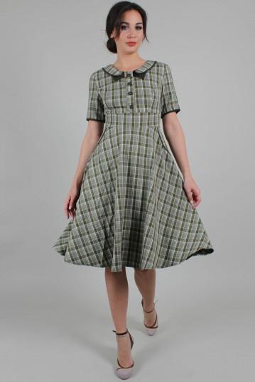 Kaylee Khaki Short Sleeve Plaid Flared Dress