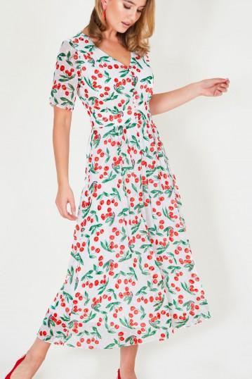 Leona Cherry Print White Tea Dress