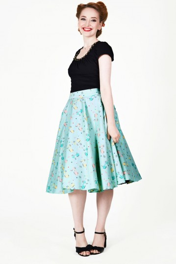 Lilly Retro Scooter Print Swing Skirt