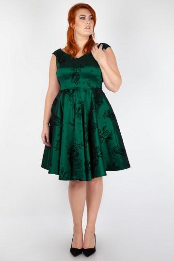 Vixen Curve Lily Green Taffeta Flared Dress