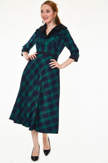 Lola Tartan Flare Dress With Fur Collar