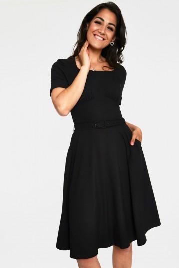 Lucia Black Short Sleeve Midi Dress